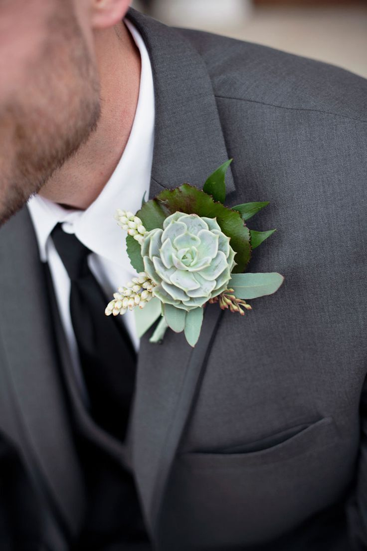 Succulent Boutonniere | See the wedding here: http://www.pinterest.com/pin/91620173643221017 | Photography: Photo Love | Floral Design: Rose of Sharon