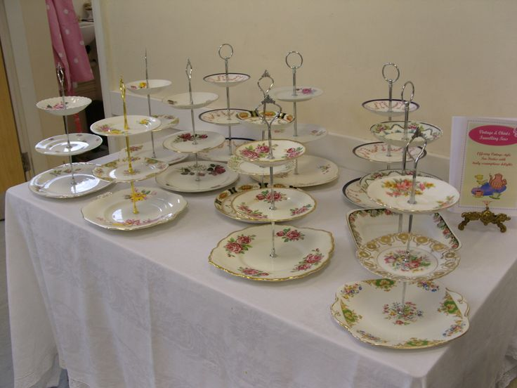 Vintage & Chintz three tier homemade vintage cake stands