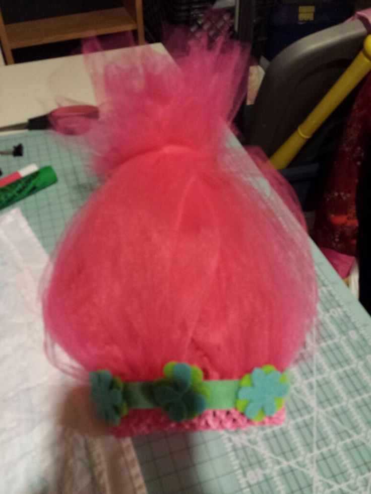Poppy troll wig. Used a crochet head ban and pink tulle