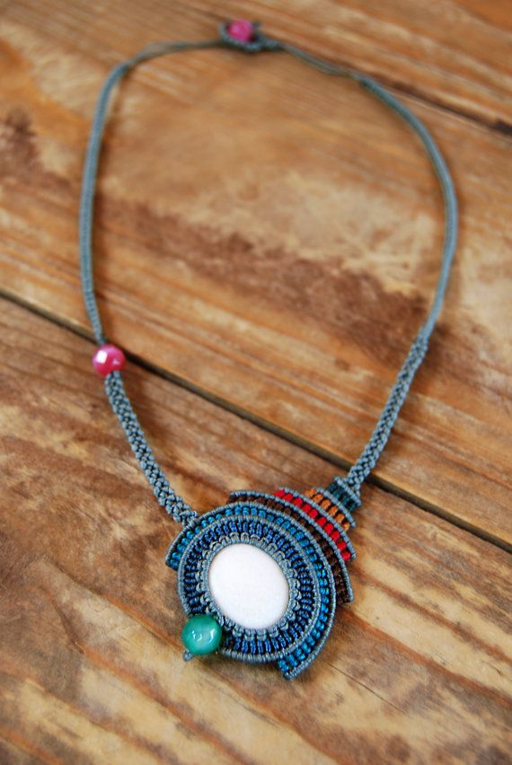 Macrame Statement Necklace.  Colorful by MitosKnitwear on Etsy