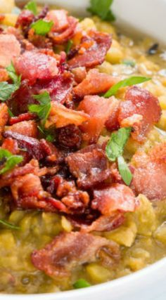 Loaded Bacon Split Pea Soup ~ Seriously delicious!