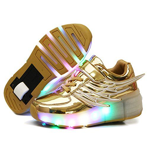 CPS Kids Adults LED Light Up Sneakers Wing Single Wheels Roller Skate Shoes (1.5 M US =CN33, Golden-PU) ** Check this awesome product by going to the link at the image.