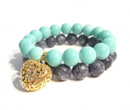 Bracelet - Grey faceted jade and turquoise shell bead with a gold-plated pendant.  Find us on: www.labonita.co