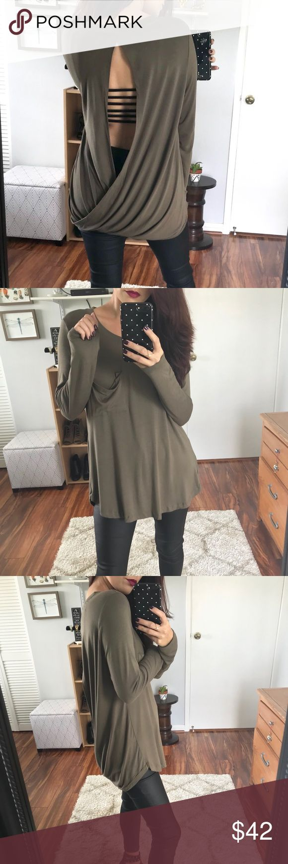 🆕 Perry Soft Tulip Back LS Tunic - Olive A super soft basic LS with a twist.  Pretty tulip design in back, with a draped pocket in front.  I paired mine with a strappy back bralette.  Would also look great paired with a cami for more coverage.  Available in Olive, Dark Plum, & Caramel.  Modeling size Small.  Price firm unless bundled▫️10% off 2+ items. Tops Tunics