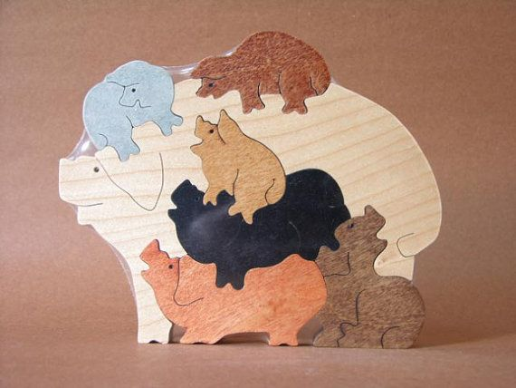 Pile of pigs hogs piglets farm puzzle wooden toy hand cut with scroll