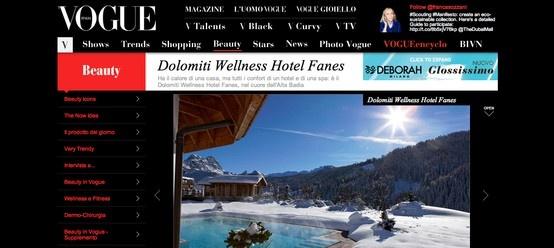 Il Wellness Hotel Fanes che ospiterà SALOTTI DEL GUSTO è su Vogue Italia!  http://www.vogue.it/beauty/spa/2013/01/dolomiti-wellness-hotel-fanes-spa-chalet-montagna