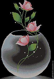 """Схема для вышивания бисером """"Роза в вазе"""" - схема вышивки…"""