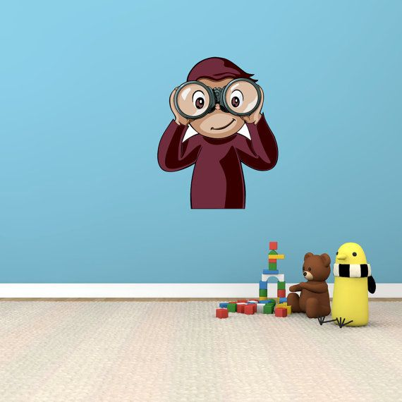 Curious george cartoon vinyl wall sticker art mural kid for Curious george mural