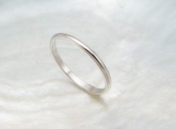 dainty wedding ring  women's platinum wedding band by RavensRefuge, $428.00