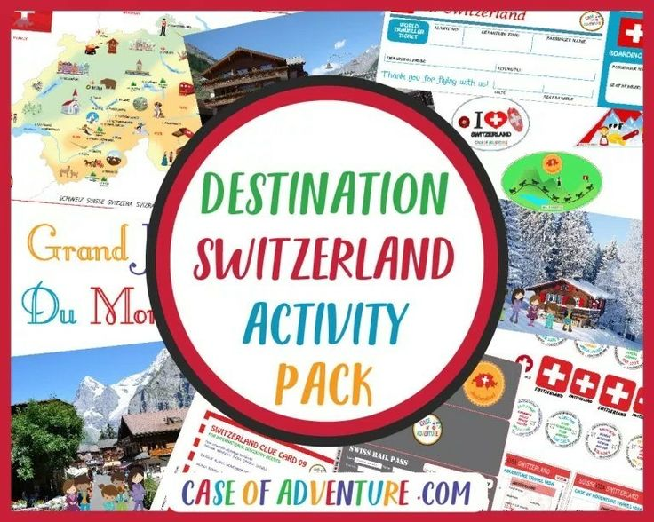 DESTINATION SWITZERLAND Activity Pack!. TheActivity Packcontains 70 pages of printables, activities and a teacher's guide with lesson plans to go with each the 12 chapters of the book. Your children will be able tomark your position on the Switzerland mapusing our Swiss map markers as you travel through Switzerland together, collect visa and passport stamps in their passports, get their Swiss Rail passes and bus tickets punched, make travel wallets and use their Swiss Francs to pay…