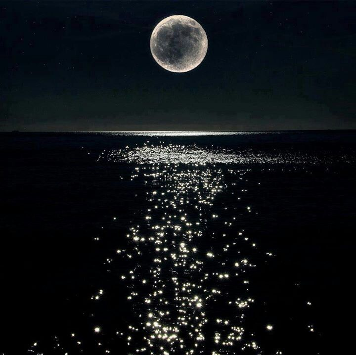 Night landscape with lake, full moon,stars, reflection on ...   Full Moon Reflecting Off Water