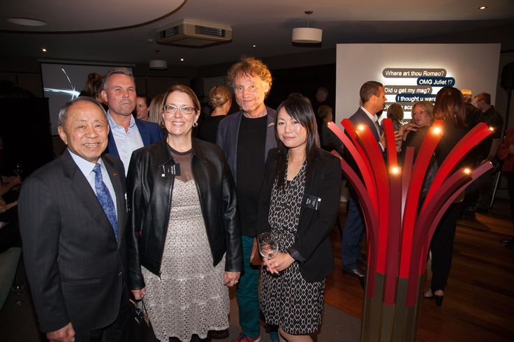 Formica Formations judges Ron Sang, Renee Hytry Derrington & David Trubridge with Laminex NZ's Richard Pollington (second from left) and Professional category winner Wendy Tran with 'Crimson Summer'