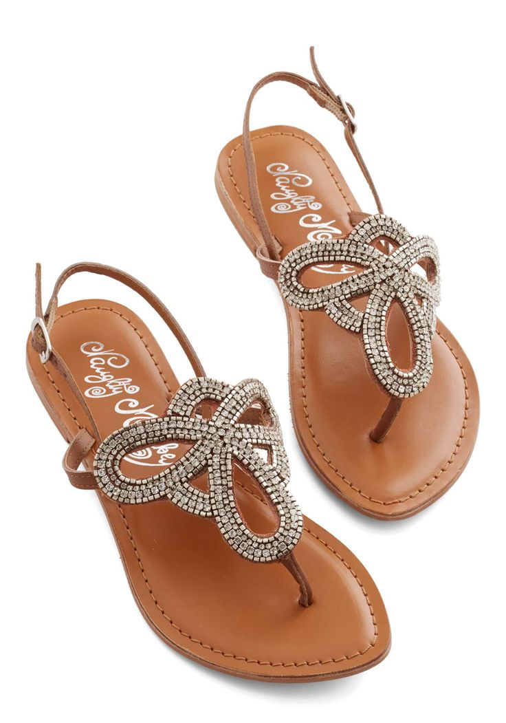 Queen of Your Sand Castle Sandal. Though the rich dune hue of these slingbacks is beachy-sweet, these sandals also bring the bling, boasting swirling centerpieces that sparkle with rhinestones and silver beads. #brown #modcloth
