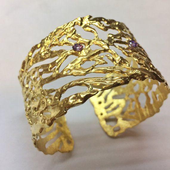 Swarovski Gold Cuff Bracelet Wide Cuff Bracelet by KastoniJewels