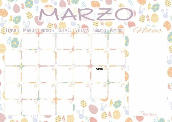 Imprimible: Calendario de Marzo 2016