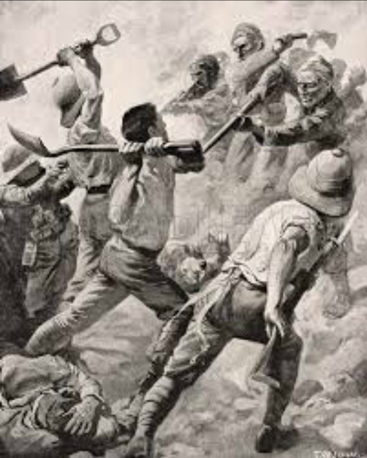 Turkish and British soldiers in a hand to hand combat on the Gallipoli Peninsula Turkey 1915