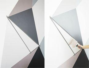Muster an der Wand mit Klebeband kreieren - Farbe in Taupe und Grau
