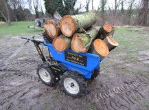 """Mini Timber Forwarder The standard Micro Arb Truc is supplied with a skip with a load capacity of 365 kgs/8CuFt.   It is only 28"""" / 715mm wide, and fits through side gates with ease, fitted with the powerful, reliable Honda (Commercial grade) GXV160/5.5HP engine, allowing it to cope with inclines up to 30°."""