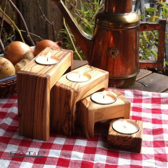 stand de moderne 4er set bougie titulaire titulaire thé léger bougeoir en bois de bois d'Olivier