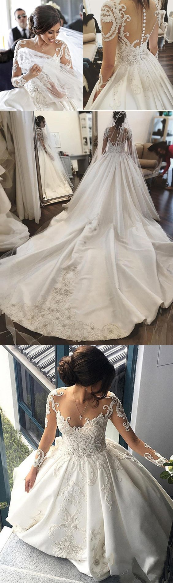Material:Matte Satin Embellishments:Appliques,Beading  #wedding #bridal #weddingdress #bridesmaid