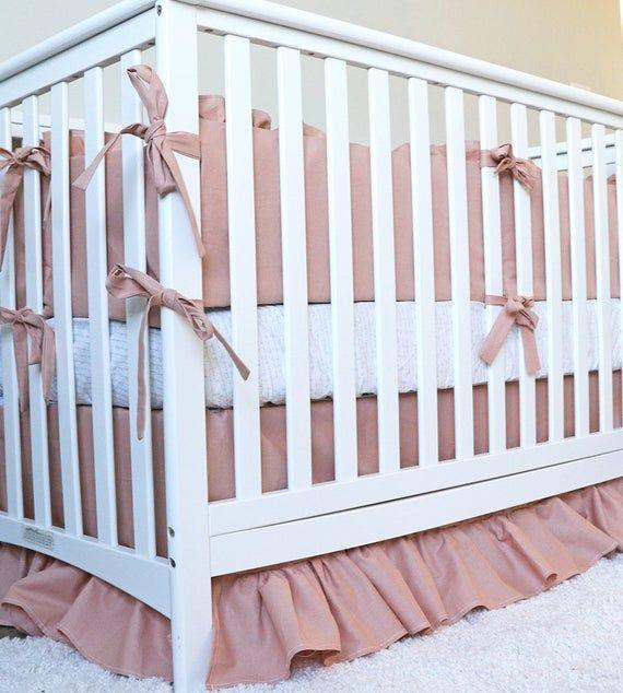 Linen baby girl crib bedding set dusty rose linen blanket