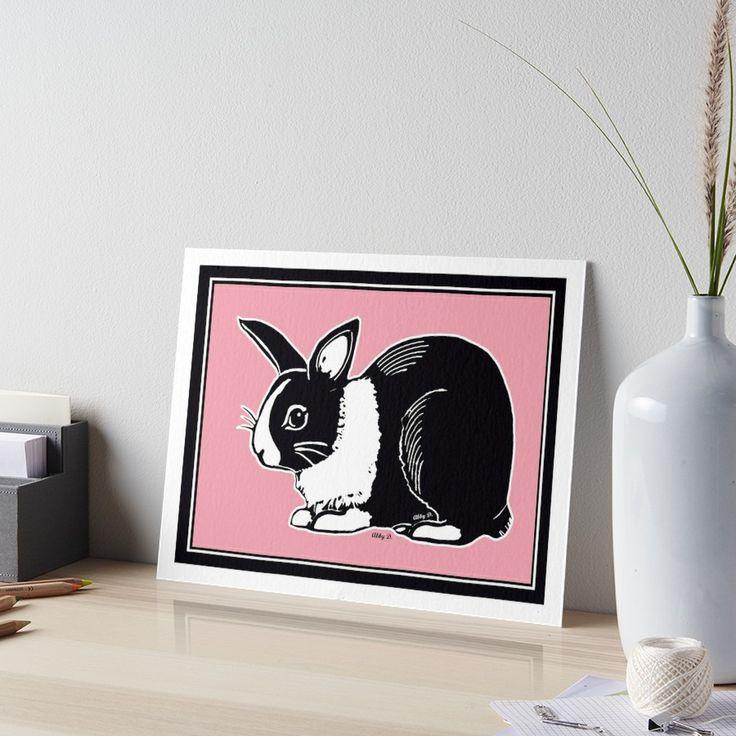 Black & White Dutch Rabbit Soft Pink Art Board by Abigail Davidson