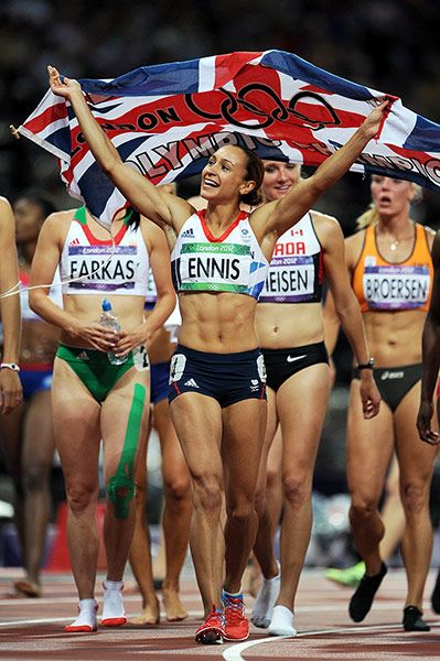 Jessica Ennis celebrates after winning gold in the heptathlon on Day 8 of the London 2012 Olympics.