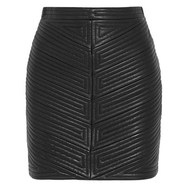 Balmain Quilted leather mini skirt ❤ liked on Polyvore featuring skirts, mini skirts, quilted leather mini skirt, structured skirt, balmain and balmain skirt