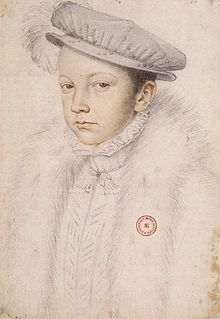 Francis II ( François II) (B: Jan. 19,1544 – D: Dec. 5,1560) was aged 15 when he succeeded to the throne of France, after the accidental death of his father, King Henry II, in 1559. He reigned for 18 months before he died in December 1560. He was also King consort of Scotland (1558–1560) as the husband of Queen Mary I.