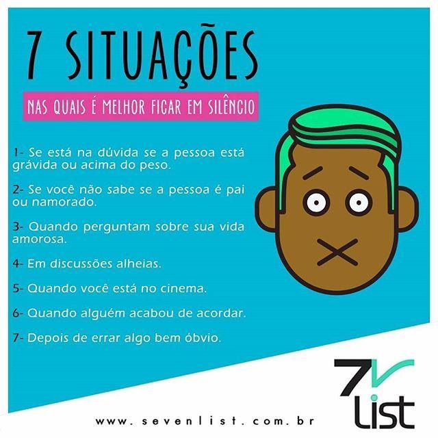 Em alguns momentos a melhor opção é ficar calado. Listamos 7 situações em especial ao dia do silêncio. #calado #diadosilencio #sevenlist #brasil #silencio #cinema #lifestyle #gravida