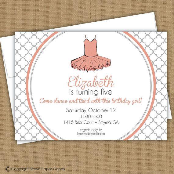 ballerina invitation ballet invitation by brownpapergoods on Etsy, $15.00