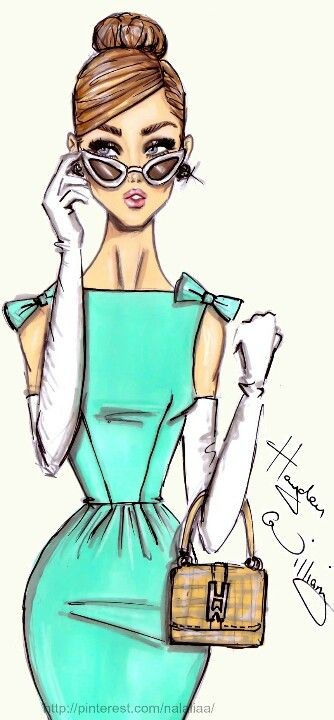Date: 08-06-2016 Note: A beautiful shape this design, its color, trim, and meaning, are a perfect example for an inspiration look in future drawings. This dress reminds me of Audrey Hepburn, very classy and elegant.