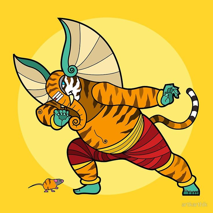 Ganesha performs the traditional Indian tiger-dance • Buy this artwork on apparel, stickers, phone cases, and more.