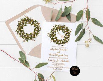 Real Foil Cotton Botanical wreath wedding invitation