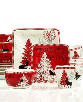 222 Fifth Dinnerware, Northwood Cottage 16-Piece Set - Christmas Dining - Holiday Lane - Macy's