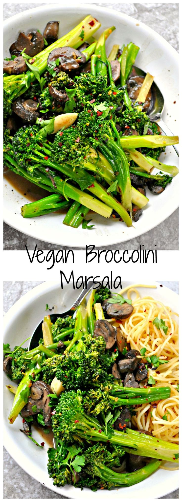 This broccolini Marsala is the perfect way to eat yo' veggies. Super garlicky broccolini sauteed and then tossed in a mushroom Marsala sauce!