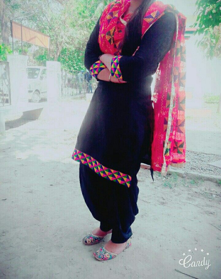 Punjabi suit with fulkari @chaggarsimran79