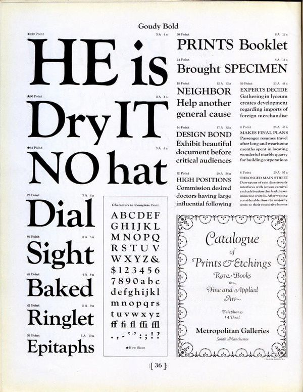 Goudy Bold type specimen in Type Specimens