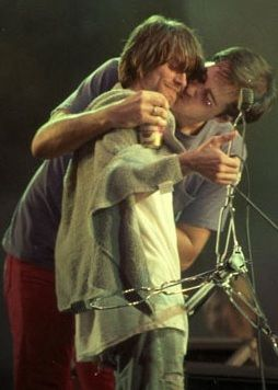 Kurt Cobain and Krist Novoselic #Nirvana Live in Brazil, 1993. This is probably the cutest thing I've ever seen