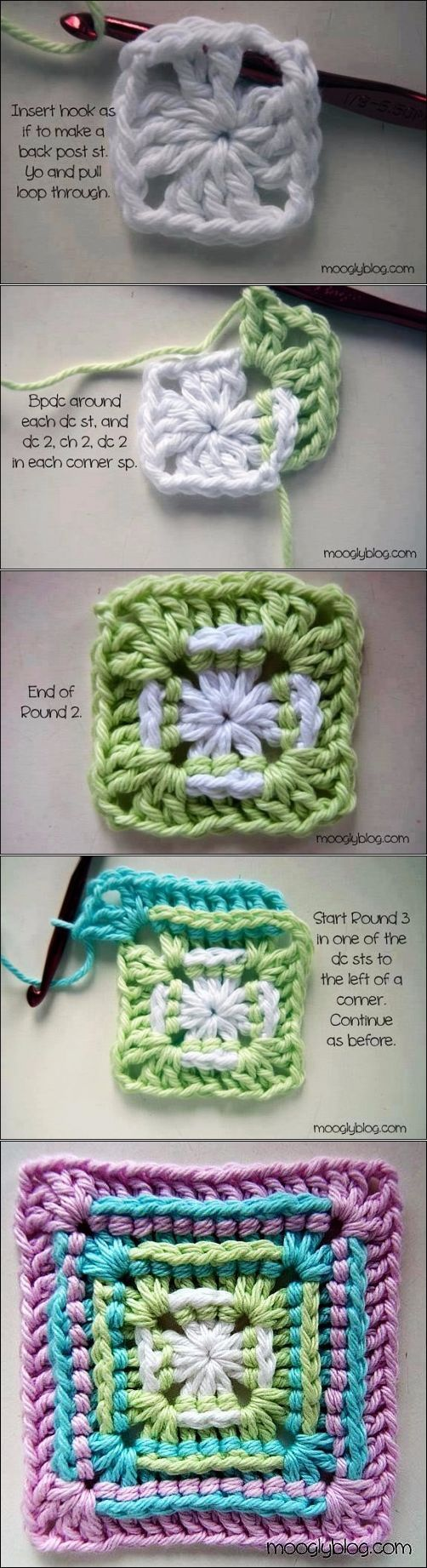 "Archivo subido [ ""Back double crochet granny square"", ""An interesting twist on granny squares."", ""check out my website for more ."", ""Possible wedding favor?"", ""Easier than I thought"", ""Beautiful and simple grandmother"