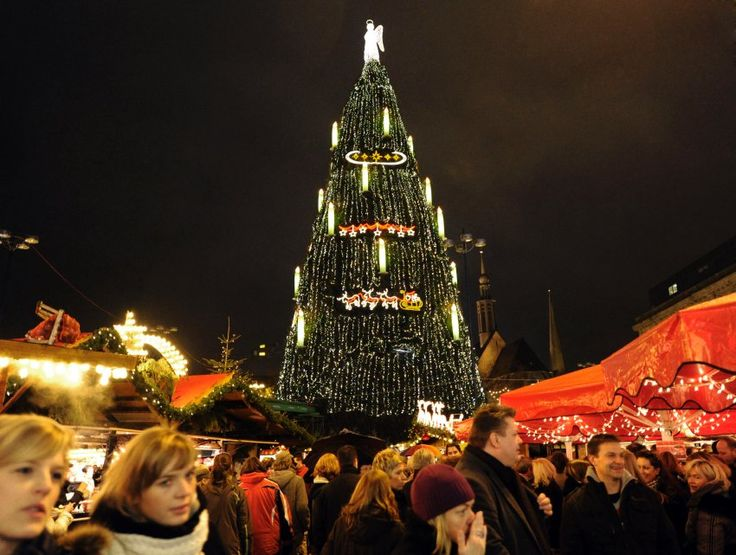 One of the largest Christmas trees in the world in Dortmund, Germany. The tree, which is 45 meters high and weighs 30 tons, is made from 1,700 smaller trees and decorated with 40,000 lights.