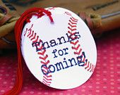 Baseball Themed Party Favor Tags - set of 20