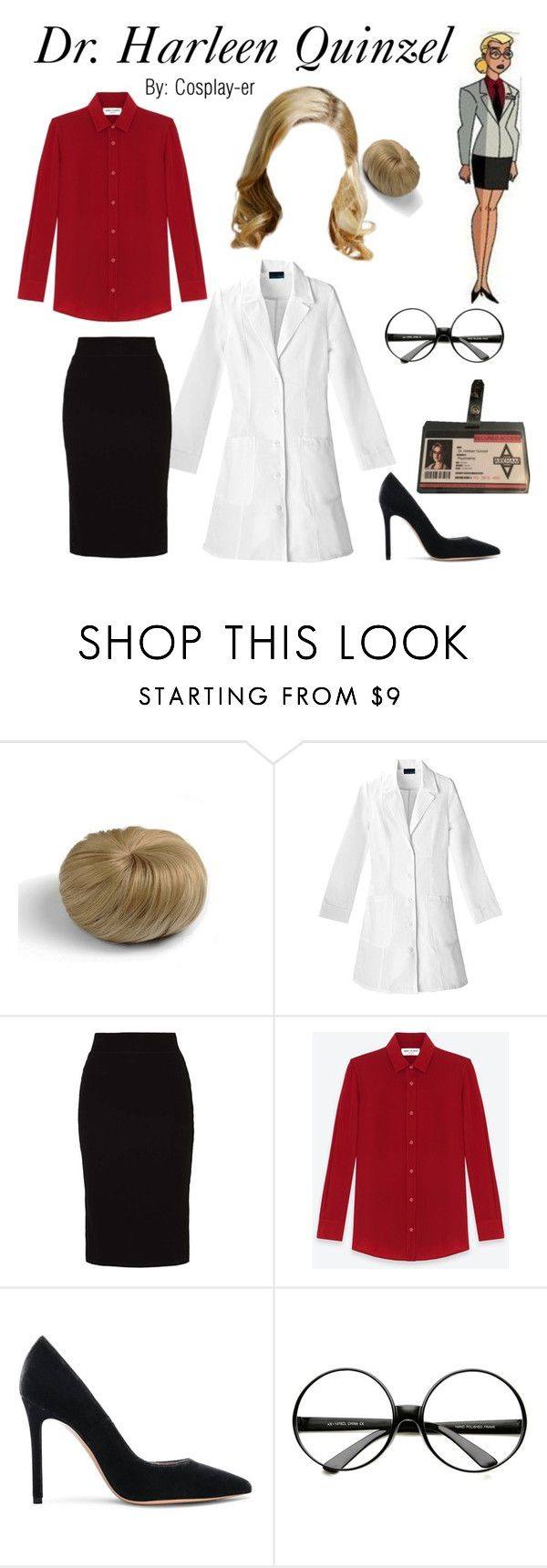 """""""Dr. Harleen Quinzel"""" by cosplay-er ❤ liked on Polyvore featuring even&odd, Yves Saint Laurent, Gianvito Rossi and ZeroUV"""