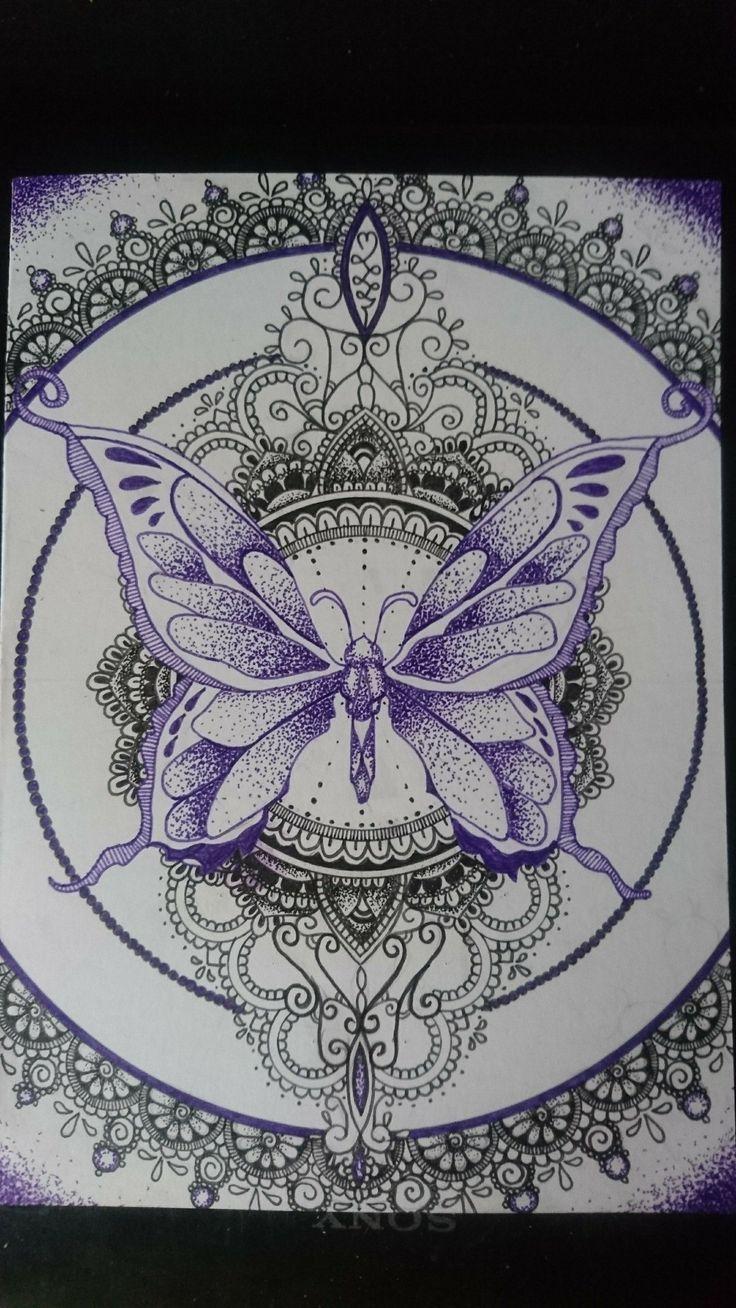 Purple butterfly mandala mothers day card