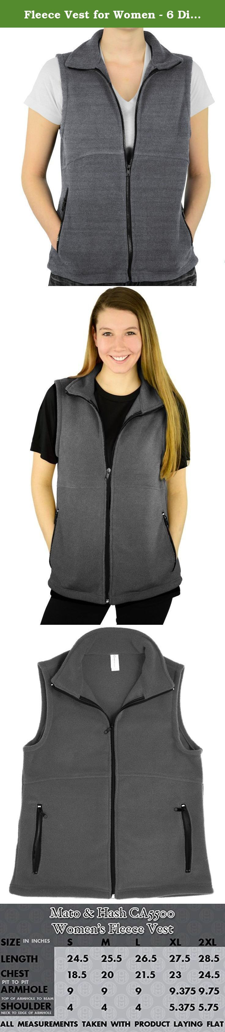 Fleece Vest for Women - 6 Different Colors Available - by Mato & Hash Charcoal Heather S. The Mato & Hash womens fleece vest is a must-have for your fashion wardrobe. This versatile womens vest is great almost year-round. With 6 different colors available, you will have no problem matching when layering your outfits for colder temperatures. The 100% polyester fleece provides comfort and warmth, without giving a bulky or boxy look. Wear this vest on your morning run, or stay comfortable at...