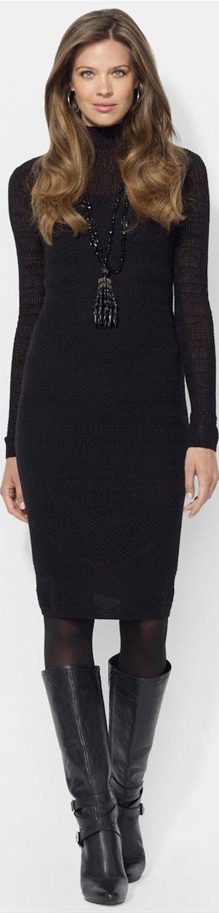 Lauren Ralph Lauren Mock Neck Pointelle Sweater Dress  LOOKandLOVEwithLOLO: Working 9 to 5