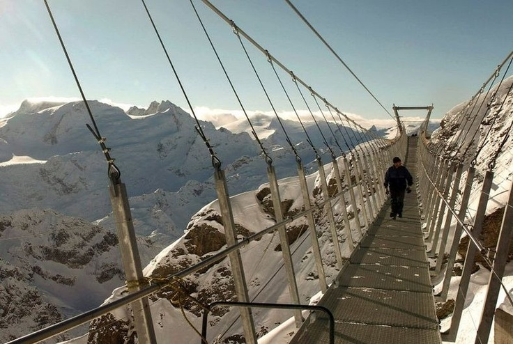 "1 of 2: Europe's highest suspension bridge has opened to the public at Engelberg, Switzerland. The 100-meter long Titlis Cliff Walk is built along a section of Mount Titlis.3,000 meters above sea level, the bridge offers views that extend as far as 500 meters down ""into the abyss of the south wall"" on days with good visibility."