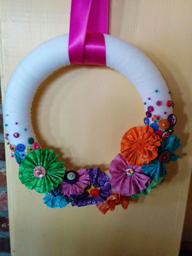 1st button fabric flower wreath
