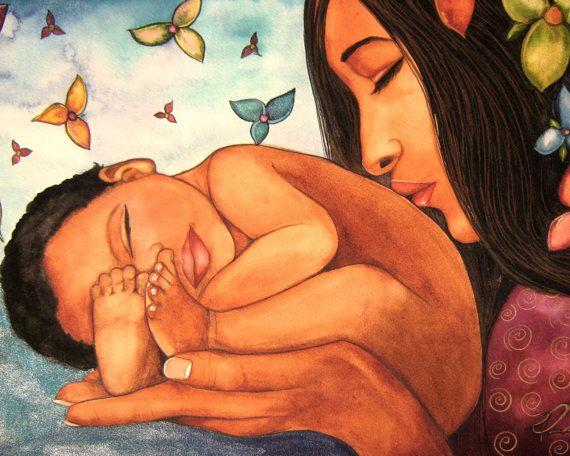 madre y el niño Bienvenido al impresión del arte del mundo