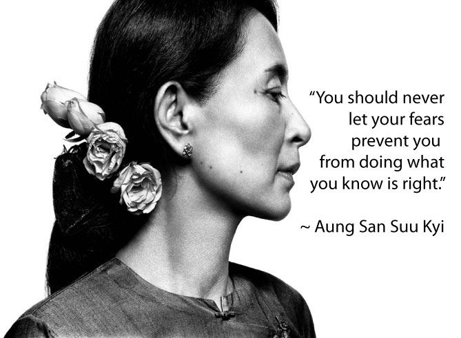 Aung San Suu Kyi began speaking out in favour of the protests and rallies against the dictator U Ne Win and his policies, focusing her speeches on democracy and human rights.